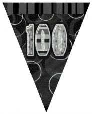 Black Glitz '100th' Birthday Flag Banner